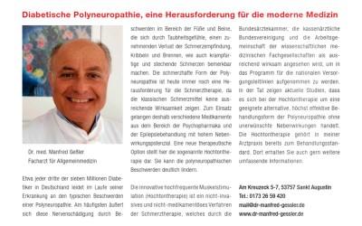 """Neue Veröffentlichung von Dr. Manfred Gessler zum Thema Polyneuropathie im Bonner Magazin """"Schlossallee"""""""